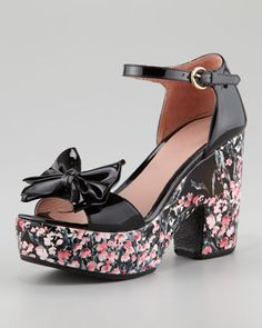 Lily of the Valley Bow Patent Chunky-Heel Sandal by RED Valentino at Neiman Marcus.