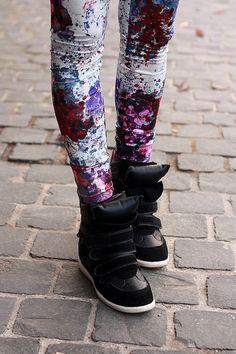 Floral leggings, sneaker wedges