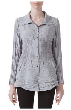 Zen Pleated Long Jacket in Light Fog - Front Long Jackets, Zen, Tunic Tops, Blouse, Long Sleeve, Sleeves, Sweaters, Fashion, Moda