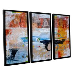 56 by Greg Simanson 3 Piece Floater Framed Graphic Art on Canvas Set