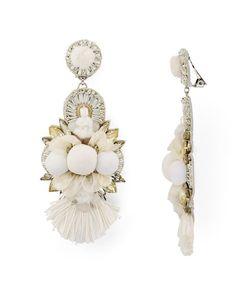 Ranjana Khan Embellished Petal Clip-On Drop Earrings
