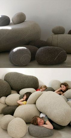 Pillows that look like natural rocks. This is amazing!