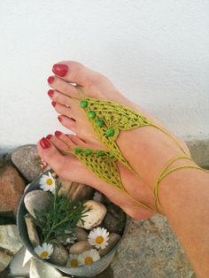 Green  Barefoot Sandals with vooden beads Nude by ArtofAccessory, $15.00