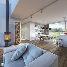 RODZINNY 2 - projekt domu z antresolą - Duża otwarta jadalnia w salonie, styl skandynawski - zdjęcie od DOMY Z WIZJĄ - nowoczesne projekty domów