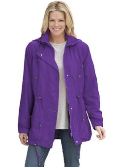 b13760d2c9b Woman Within plus size jacket anorak in weather-resistant Taslon
