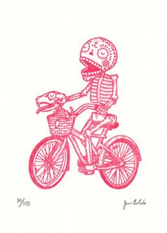 This is a limited edition Gocco screenprint titled Bicycle Calavera. It is a 1 color print with Red ink on a 5 x 7(13cm x 18cm) sheet of Coventry