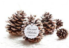 Pine Cone Fire Starter as a favor for Winter wedding concept