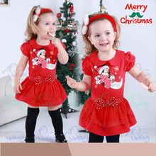 Kids clothes princess cartoon baby girl's dress 2pcs(red dress+headwear) 2~6age children's apparel Merry Christmas gift new 2015(China (Mainland))