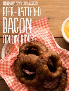 Bacon-wrapped, stout-battered onion rings make you a better person.