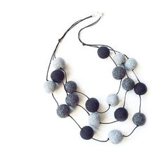 Felted necklace felt necklace felted beads felt beads grey necklace... ($28) ❤ liked on Polyvore featuring jewelry and necklaces