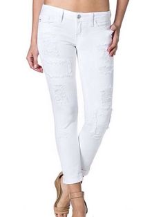 Miss Me White Cuffed Distressed Skinny Jean from Chocolate Shoe Boutique