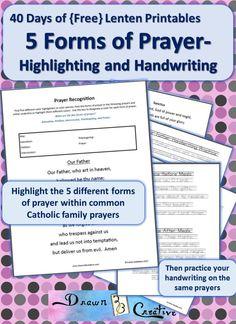 Five Forms of Prayer Worksheet   Catholic kids Lent and Easter ...