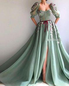Details - Lagoon breeze turquoise dress color - Mesh/net dress fabric - H. - - Details - Lagoon breeze turquoise dress color - Mesh/net dress fabric - Handmade embroidered TMD field flowers and a velvet cherry ribbon - A-li. Elegant Dresses, Pretty Dresses, Vintage Prom Dresses, Casual Formal Dresses, Homecoming Dresses, Ball Dresses, Ball Gowns, Puffy Dresses, Dresses Dresses