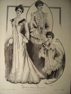 Vestidos de moda victoriana páginas originales 1900 patrón anuncio vestidos Victorian trajes estilo eduardiano moda Vintage Butterick