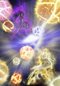 Aspros Vs Deuteros: Galaxian Explosion! // artwork by Shiori Teshirogi and ~RXGDO (2010)