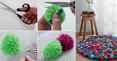 For this, you need different colored yarn balls, net, scissors and some clips to attach the balls. This colorful pom pom rug looks amazing at your home.