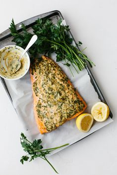 Dijon baked salmon is one of my favorite easy salmon recipes. It's incredibly flavorful and the dijon topping keeps the salmon moist, light and flaky. It's the perfect healthy dinner recipe and can be made in under 30 minutes.