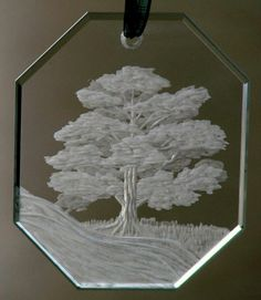 *Tree* Hand engraved crystal both sides by Catherine Miller of Catherine Miller Designs *Technique-Stone Wheel * Starfire Crystal