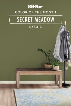 Inspire your senses with a timeless, botanical shade of green. Paired with light wood floors and neutral white trim, Secret Meadow brings a calming style to this front entryway. Click below for full color details to learn more.