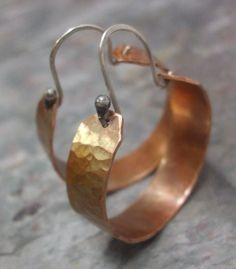 Copper+Romance+Copper+Hoops+with+Sterling+by+ThePurpleLilyDesigns,+$26.00
