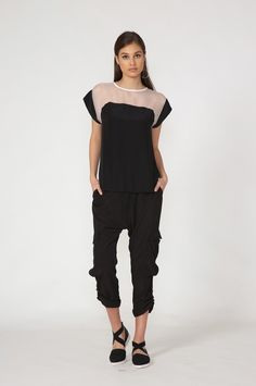 mooch illusion top - spring 2016 COLLECTION Spring 2016, Spring Summer Fashion, Black Tops, Black And White, Spring Tops, Through The Looking Glass, Illusions, Jumpsuit, Normcore
