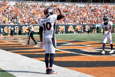A look at the Broncos' win over the Bengals at Paul Brown Stadium. (Photos by Eric Bakke unless noted). Denver Broncos Football, Broncos Fans, Cincinnati Bengals, Paul Brown Stadium, Emmanuel Sanders, American Football League, Wide Receiver, Nfl, Celebrities