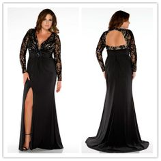 Sexy v neck long sleeve slit keyhole back crystal sequined black lace chiffon long mermaid plus size evening gown prom dress US $145.00