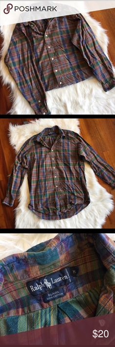 Men's Vintage Ralph Lauren Plaid Button Down Good used condition. Overall minor wear. This has the perfect worn in feel and is a mix between a Button Down and flannel. So comfy and perfect for upcoming fall. All sales final.   🌟No Returns If Item Doesn't Fit - Please Ask For Measurements Instead (Per Posh Rules)  🌟 No Trades Ralph Lauren Shirts Casual Button Down Shirts