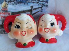 Vintage Fabulous RARE Kelvins Ceramic Pair of Elf Pixie Head Candlesticks   eBay