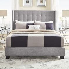 Melina Tufted Grey Linen Wingback Bed by iNSPIRE Q Bold | Overstock.com Shopping - The Best Deals on Beds