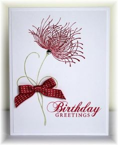Scrappin' and Stampin' in GJ: cards--The card - flower stamp is from Penny Black, sentiment is Hero Arts.  Colors are primrose and whit