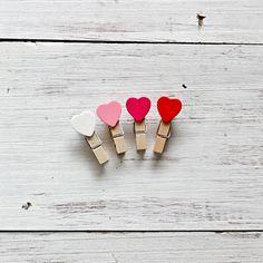mini wasknijpertjes - mini heart pegs
