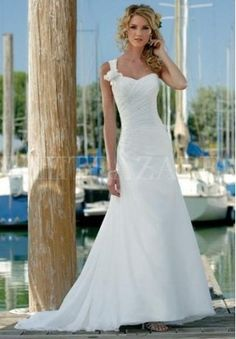 chiffon-one-shoulder-sweetheart-a-line-beach-wedding-dress