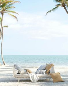 There's no better place for an afternoon nap than by the beach in our outdoor daybed. Add stylish comfort with a set of our outdoor throw pillows. Outdoor Daybed, Outdoor Decor, Outdoor Furniture, Bungalows, Outdoor Spaces, Outdoor Living, Outdoor Pillow Covers, Beach Essentials, Plywood Furniture