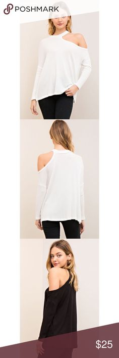 Boutique White Off Shoulder Top Available in size medium. Model is wearing a small. Only available in white. Waffle knit. Tops Tees - Long Sleeve