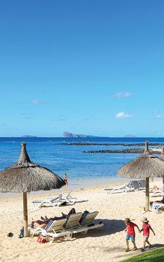 La plage de l'hôtel Canonnier, Île Maurice.