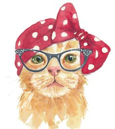 Cat Watercolor 5x7 PRINT Orange Tabby by WaterInMyPaint on Etsy