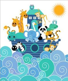 Noah's ark poster, 50x40cm, £13.80, (available in up to 100x120cm) - bluetac to room dividers or attach to noticeboards.