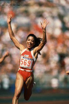 Florence Joyner Winning the Olympic 100 Meter Dash - WL003318 - Rights Managed - Stock Photo - Corbis