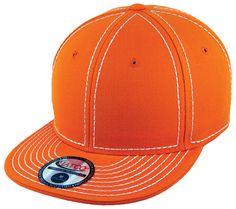 Blank Heavy Stitch Fitted Cap - Orange/White