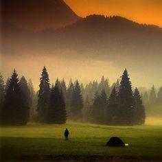Italian Dolomites, Val Canali, Villa Welsperg, sunrise