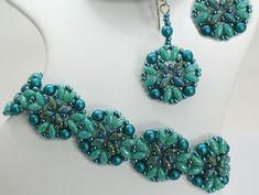 Deb Roberti's Athena Bracelet & Earrings done in 2015 Spring Fashion color Scuba Blue