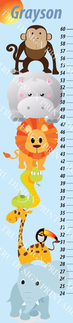 Items similar to Jungle Theme Kids Growth Chart on Etsy Flag Banners, Jungle Theme, Creative Design, Little Ones, Wedding Invitations, My Etsy Shop, Snoopy, Chart, Prints