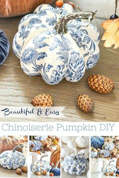 white christmas BLUE AND WHITE pumpkins are so easy to make. Just 3 things needed to make gorgeous CHINOISERIE pumpkins! Create a beautiful blue and white patterned pumpkin! Velvet Pumpkins, Fabric Pumpkins, Painted Pumpkins, Fall Pumpkins, Plastic Pumpkins, Craft Font, Deco Fruit, Pumkin Decoration, Diy Pumpkin