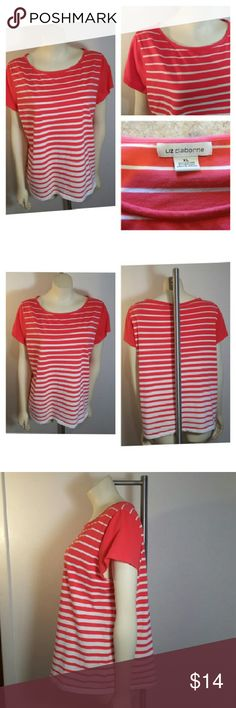 Liz Claiborne Striped Soft Knit Shirt Liz Claiborne Women's Short Sleeve XL Extra Large Knit Shirt Top Striped Orange & White  Freshly washed, clean in good gently worn condition Super soft fabric with light stretch  95% Cotton 5% Spandex Machine wash cold Tumble dry low  23 inches long 23 inches across chest 16 inches across shoulders 6 inch long sleeve  Please email me with any questions Smoke Free Thank you and Happy Poshing!  Fast shipping! Liz Claiborne Tops Blouses