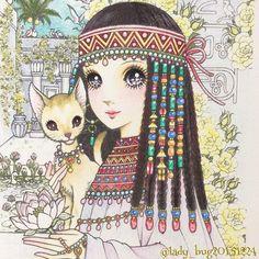 Instagram media lady_bug20151224 - * ネコちゃんのおでこにハートが隠れています❤️ * #高橋真琴のぬりえブック #クーピー #コロリアージュ #大人の塗り絵 #お姫様 #女の子 #ねこ #coloringbook #coloriage #高橋真琴 #makototakahashi