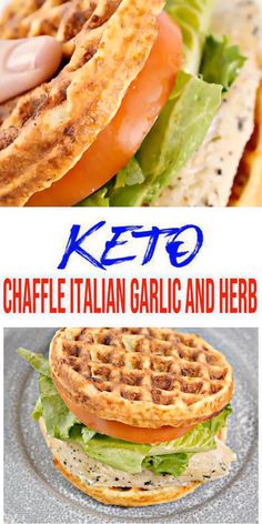 {Keto Chaffles} Tasty & easy low carb keto chaffle recipe. Quick & yummy chaffle for simple keto breakfast, snack, keto lunch or keto dinner. Learn how to make keto chaffles w/ these easy ketogenic diet recipe. Skip the fast food, take out or delivery & make this homemade low carb keto chaffle sandwich - keto Italian Garlic And Herb chaffle sandwich. Pick your favorite sandwich toppings: meat, cheese, bacon, eggs & more. Check out this favorite keto food recipe :) #lowcarbrecipe