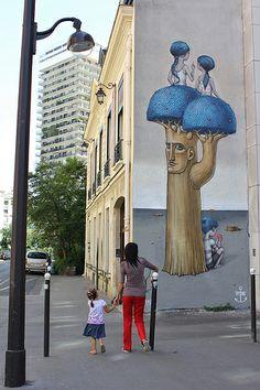 ¤ Street art | Mural (rue des Cordelières, Paris 13ème, France) by Kislow and Seth