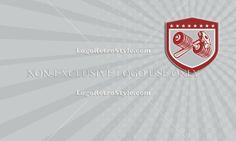 Crossed Dumbbell and Sledgehammer Shield Retro Business card Logo-Illustration