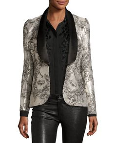 f84527f37f142 Prabal Gurung metallic floral-jacquard jacket with satin trim. Shawl  collar  hook front. Long sleeves. Front welt pockets. Fitted silhouette.